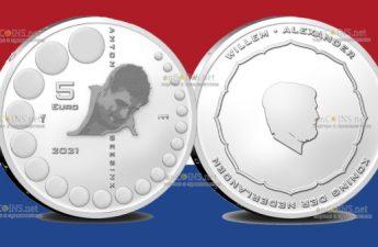 Нидерланды монета 5 евро Антон Гесинк
