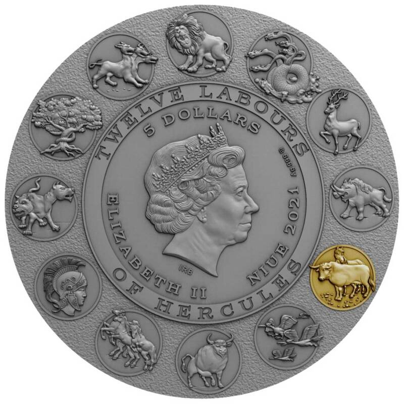 Ниуэ монета 5 долларов Геракл, аверс