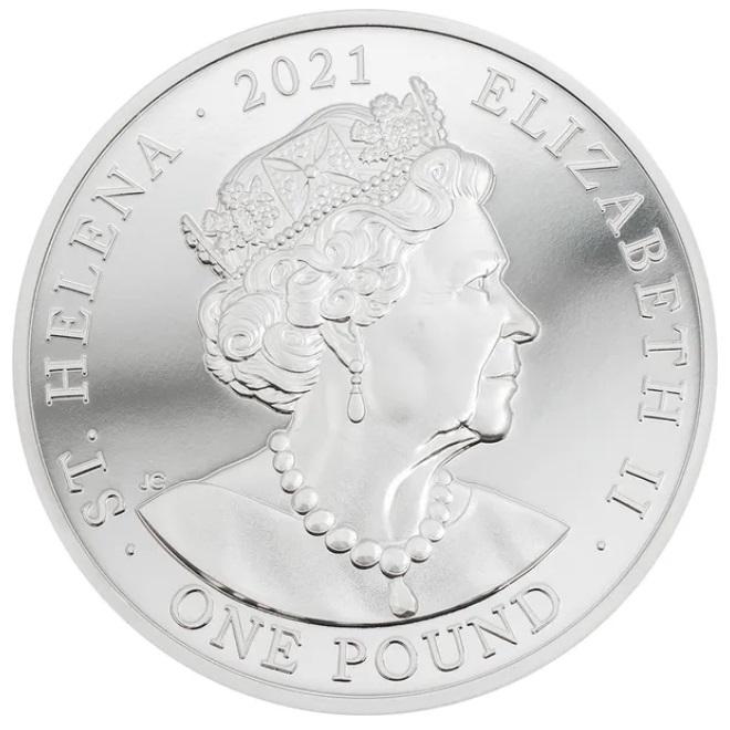 Остров Святой Елены монета 1 фунт Наполеон, аверс