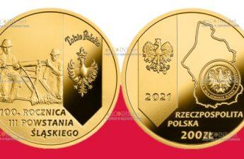 Польша монета 200 злотых 100 лет Третьему Силезскому восстанию