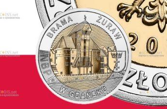 Польша монета 5 злотых Ворота-кран в Гданьске