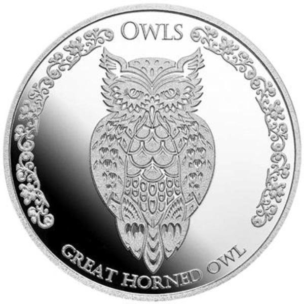 Токелау монета 1 доллар Большая рогатая сова, реверс