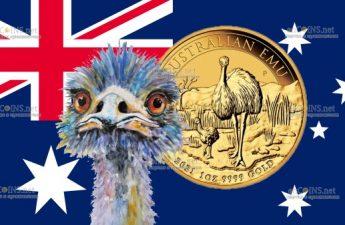 Австралия монета 100 долларов Птица Эму