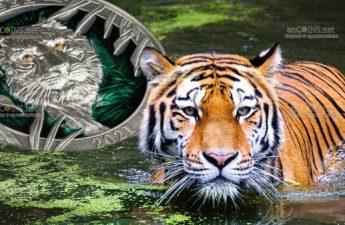 Барбадос монета 5 долларов Тигр