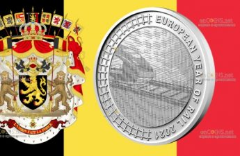 Бельгия монета 5 евро 2021 - Европейский год железных дорог