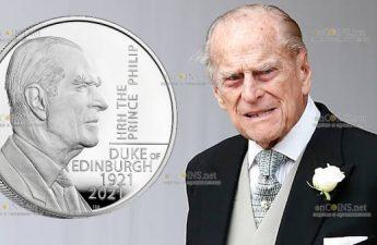 Британия серебряная монета 5 фунтов принц Филипп