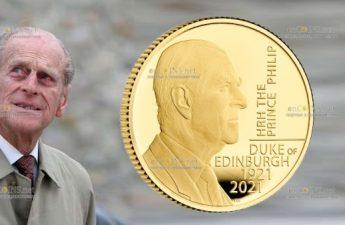 Британия золотая монета 25 фунтов принц Филипп