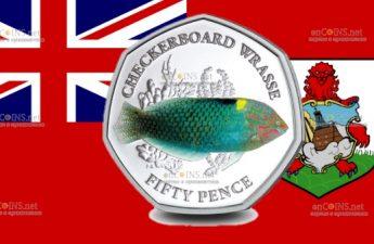 Британские территории в Индийском океане монета 50 пенсов Тамарин мраморный