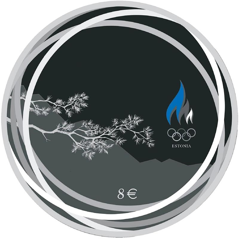 Эстония монету 8 евро Зимние Олимпийские Игры в Пекине, реверс