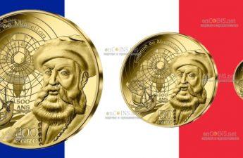 Франция золотые монеты Фернан де Магеллан