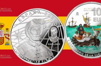 Испания монета 10 евро 500 лет первому кругосветному плаванию - Элькано