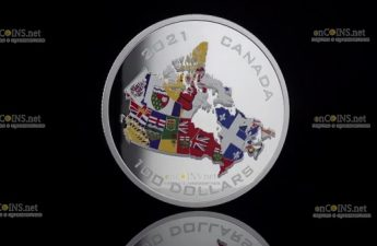 Канада монета 100 долларов Флаги провинций и территорий Канады