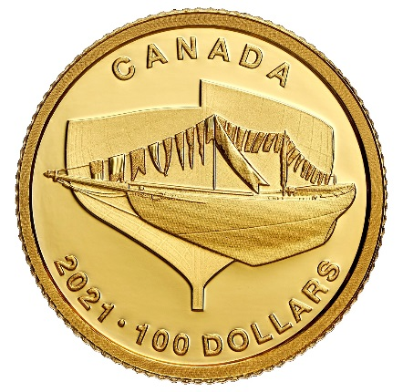Канада отчеканила монету 100 долларов Синеносая - Bluenose, реверс