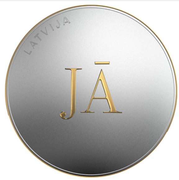 Латвия монета 5 евро ДА, аверс
