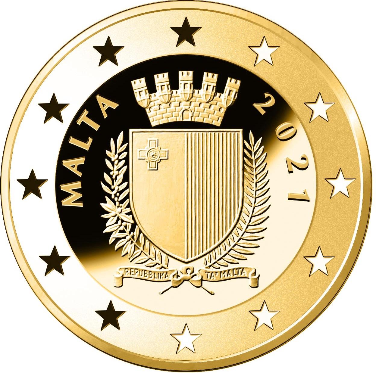 Мальта монета 50 евро 2021 год, аверс