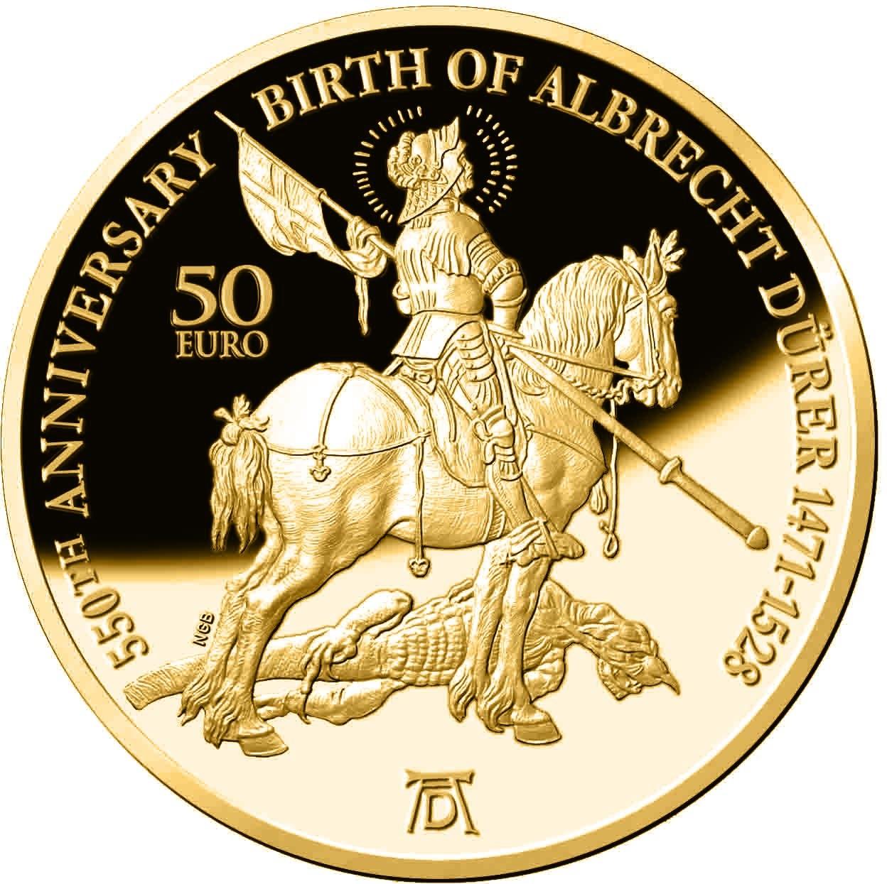 Мальта монета 50 евро Альбрехт Дюрер, реверс