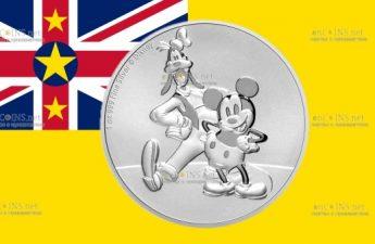 Ниуэ монета 2 доллара Микки и Гуфи