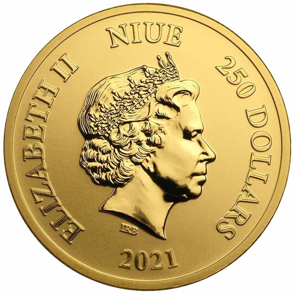 Ниуэ монета 250 долларов Микки и Гуфи, аверс