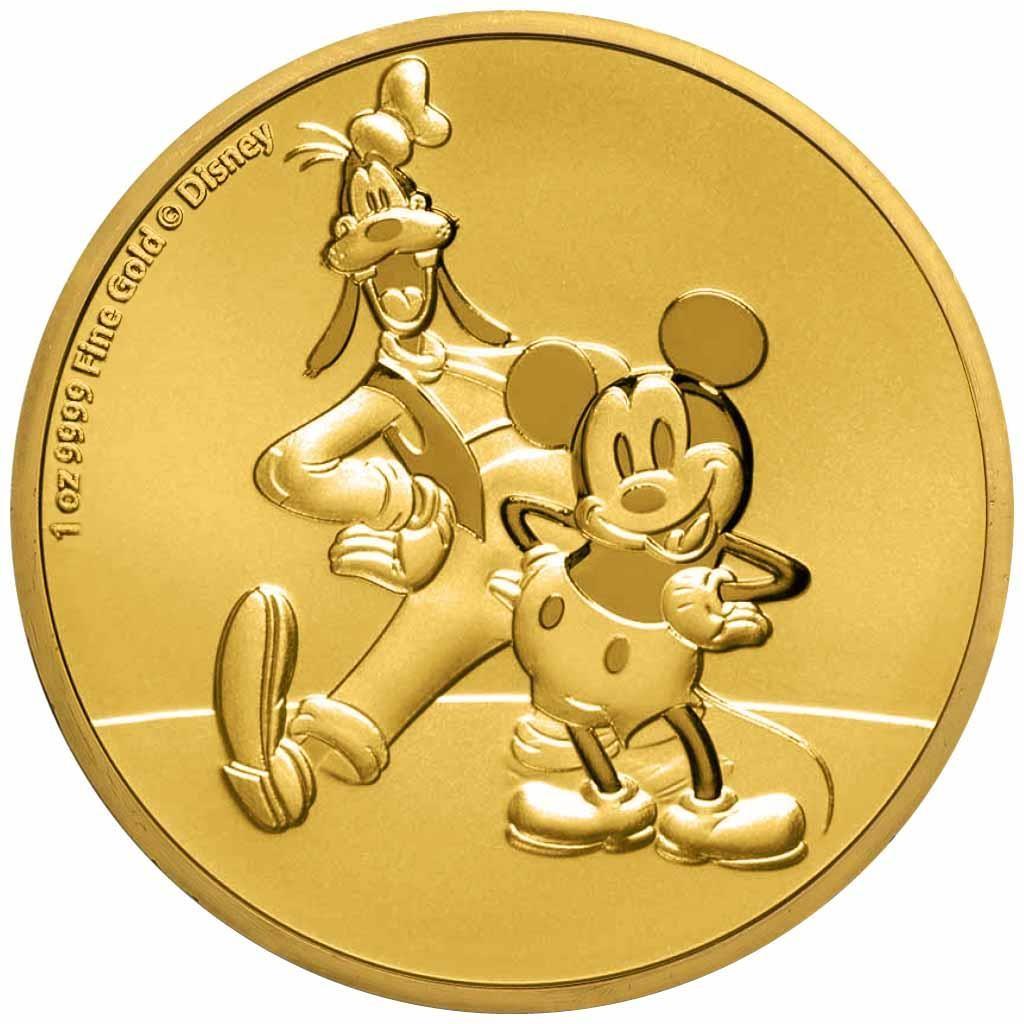 Ниуэ монета 250 долларов Микки и Гуфи, реверс