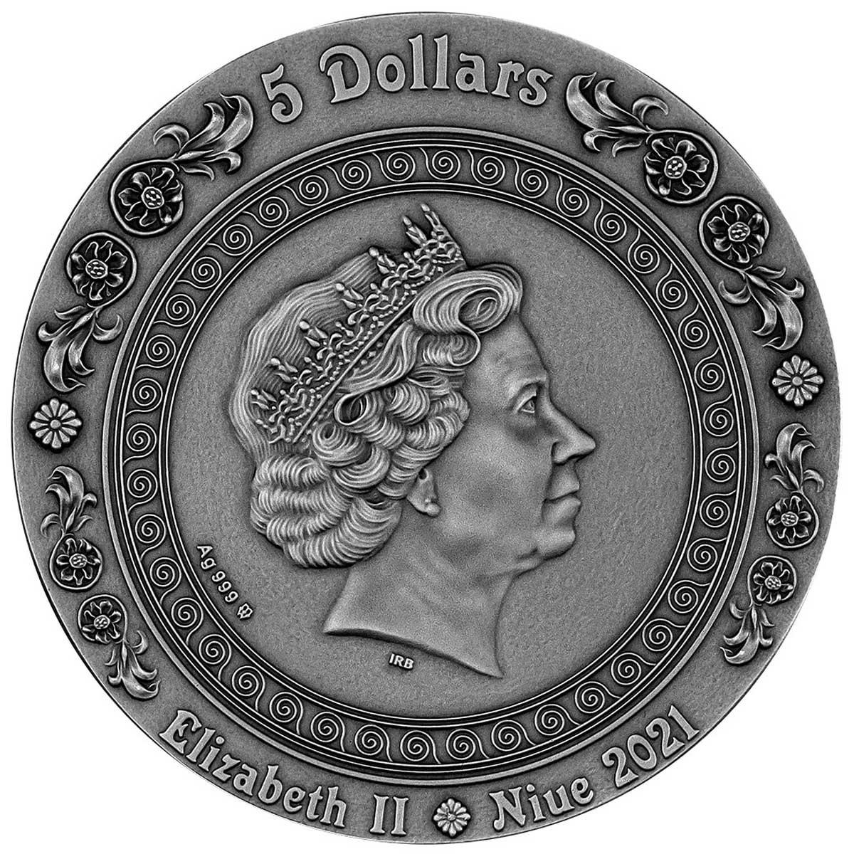Ниуэ монета 5 долларов Фортуна и Тюхе, аверс