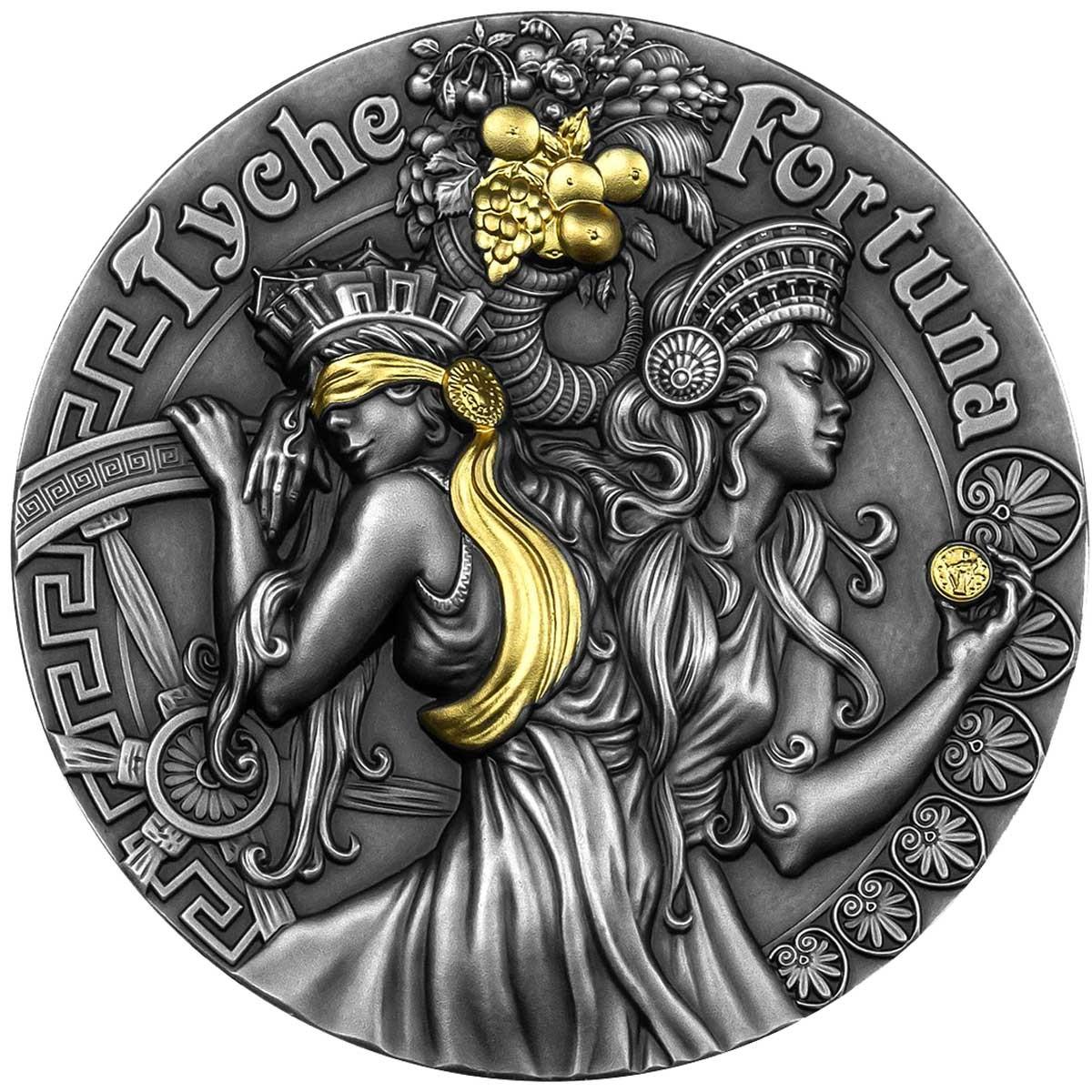 Ниуэ монета 5 долларов Фортуна и Тюхе, реверс