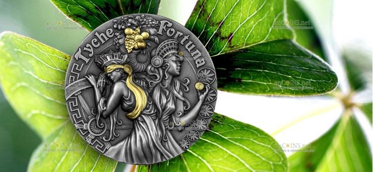 Ниуэ монета 5 долларов Фортуна и Тюхе