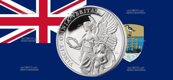 Остров Святой Елены монета 1 фунт Истина