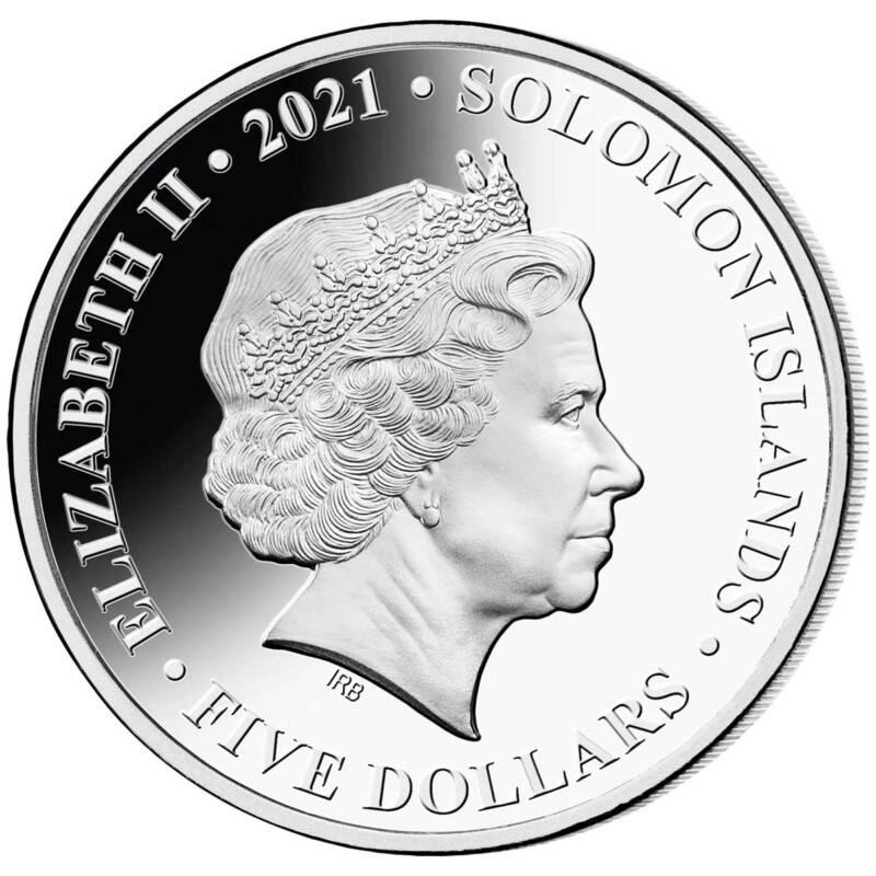 Соломоновы острова монета 5 долларов серии Динозавры, аверс, 2021 год