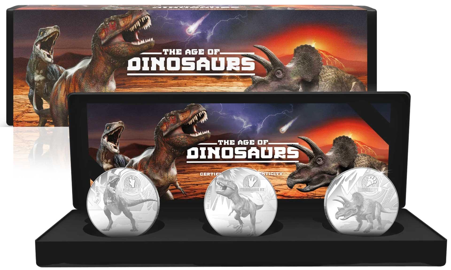 Соломоновы острова монета 5 долларов серии Динозавры, подарочная упаковка