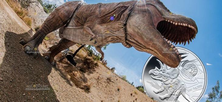 Соломоновы острова монета 5 долларов серии Динозавры