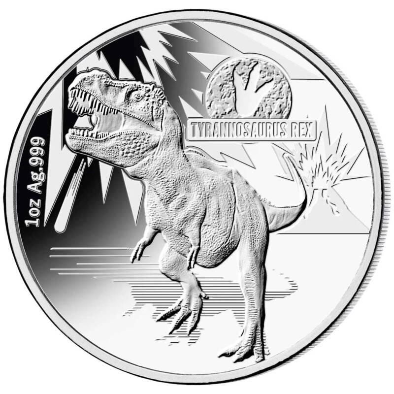 Соломоновы острова монета 5 долларов Тираннозавр Рекс, реверс