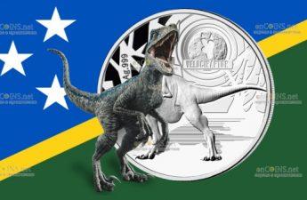 Соломоновы острова монета 5 долларов Велоцираптор