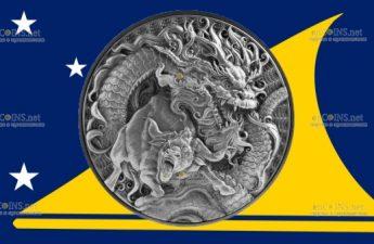 Токелау монета 10 долларов Дракон и Бык