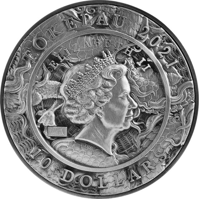 Токелау монета 10 долларов Дракон и Бык, аверс