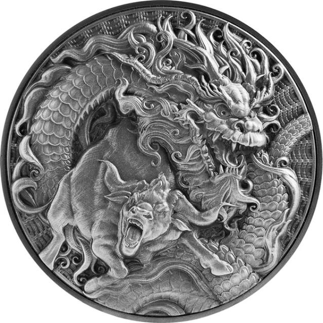 Токелау монета 10 долларов Дракон и Бык, реверс
