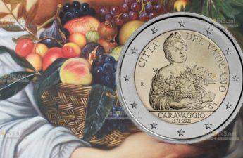 Ватикан монета 2 евро Юноша с корзиной фруктов