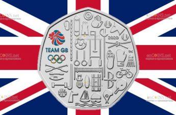 Великобритания медно-никелевая монета 50 пенсов Олимпийские игры в Токио 2021