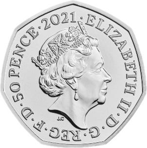 Великобритания медно-никелевая монета 50 пенсов Олимпийские игры в Токио 2021, аверс