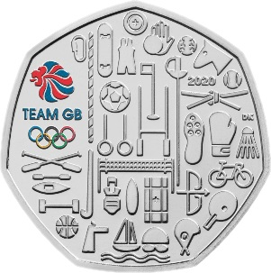 Великобритания медно-никелевая монета 50 пенсов Олимпийские игры в Токио 2021, реверс