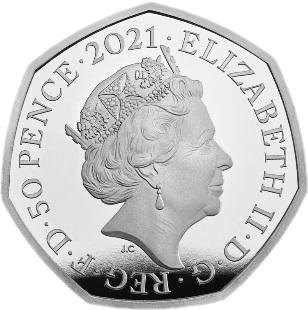 Великобритания серебряная монета 50 пенсов Олимпийские игры в Токио 2021, аверс