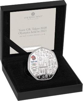 Великобритания серебряная монета 50 пенсов Олимпийские игры в Токио 2021, подарочная упаковка