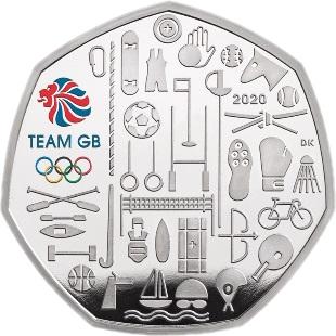 Великобритания серебряная монета 50 пенсов Олимпийские игры в Токио 2021, реверс