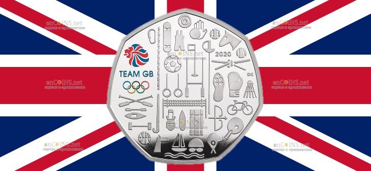 Великобритания серебряная монета 50 пенсов Олимпийские игры в Токио 2021