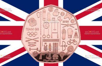 Великобритания золотая монета 50 пенсов Олимпийские игры в Токио 2021