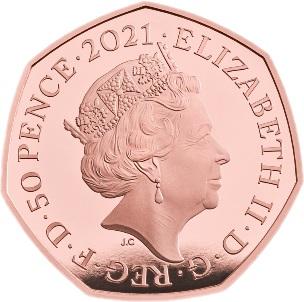 Великобритания золотая монета 50 пенсов Олимпийские игры в Токио 2021, аверс
