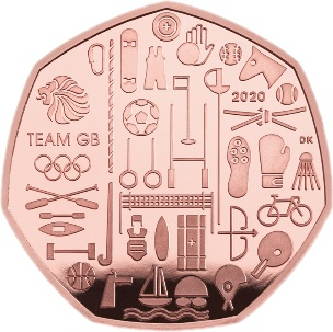 Великобритания золотая монета 50 пенсов Олимпийские игры в Токио 2021, реверс