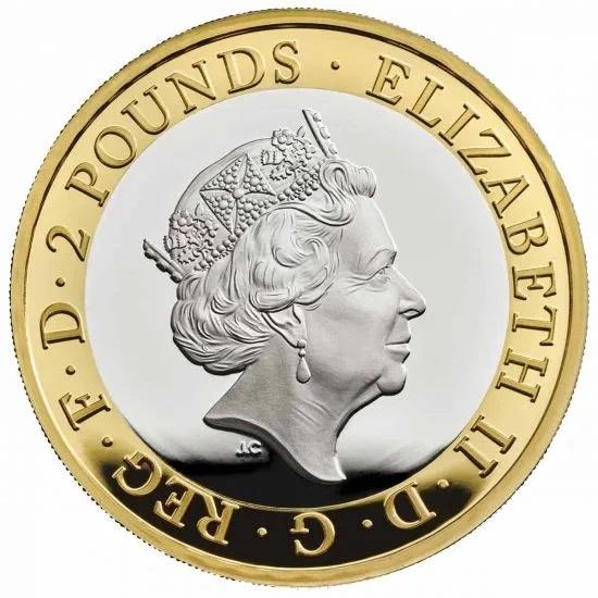Британия серебряные монеты 2 фунта Вальтер Скотт, аверс