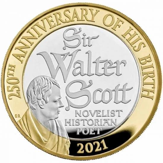 Британия серебряные монеты 2 фунта Вальтер Скотт, реверс