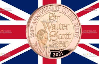 Британия золотая монета 2 фунта Вальтер Скотт