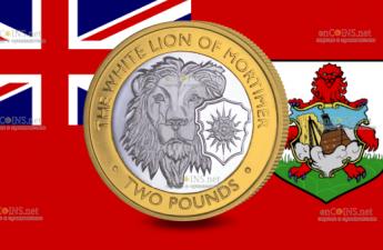 Британские территории в Индийском океане монета 2 фунта Белый лев Мортимера